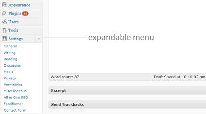 Expandable menu in the new WordPress 2.7