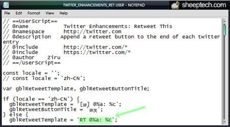 Edit retweet output