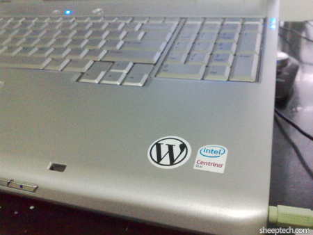 WordPress sticker on Dell Inspiron 1720