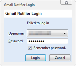 Gmail Notifier - Failed to log in