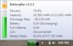 Battery Bar: Discharging, disconnected from AC