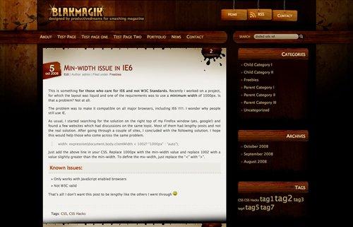 Screenshot: Black Magic WordPress Theme