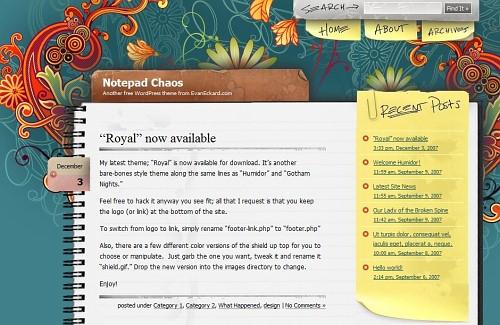 Screenshot: Notepad Chaos WordPress Theme