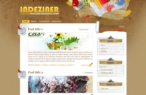 Screenshot: Paper Wall WordPress Theme