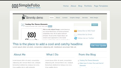 Screenshot: SimpleFolio WordPress Theme