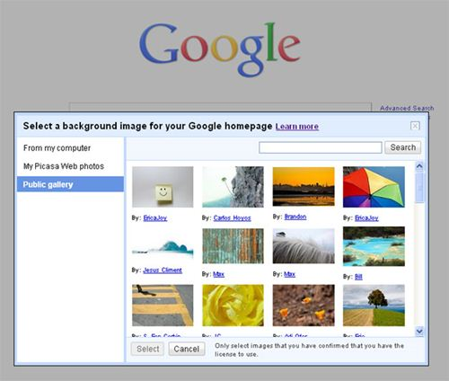 Select background for Google homepage