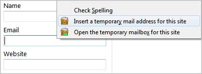 Insert temporary email