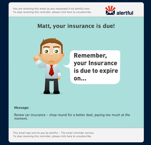 Example email reminder: insurance due