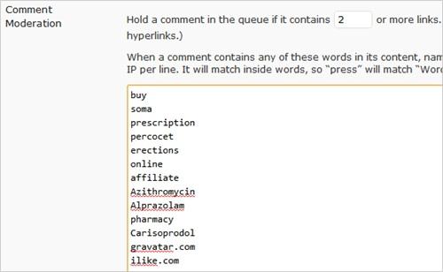Comment Moderation keyword blacklist