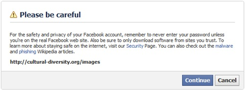 Facebook outgoing link warning message