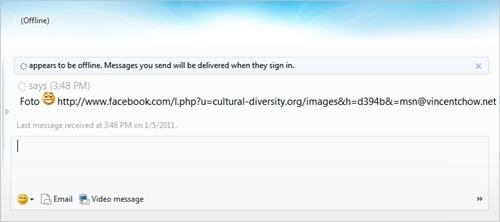 Windows Live Messenger Spam Link using Facebook domain